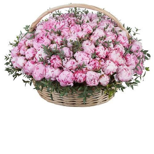 """Цветы в корзине """" Розовый пион 301 шт """""""