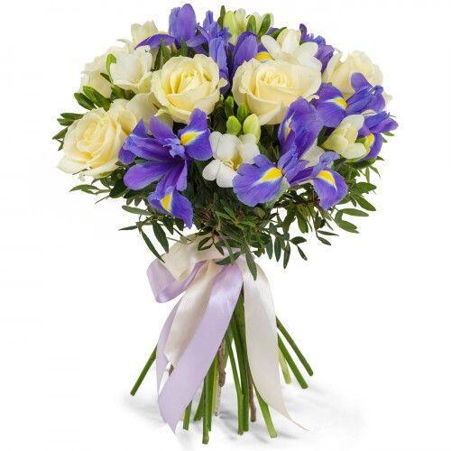 Букет из розы с ирисом и фрезией