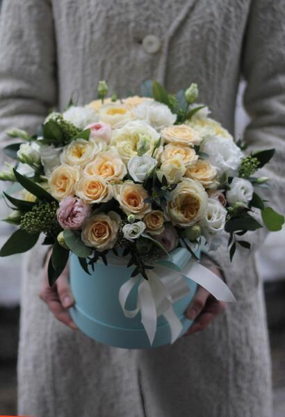 Цветы в шляпной коробке «Ветер перемен»