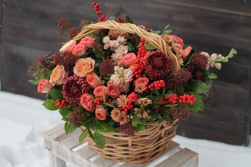 """Корзина цветов """"Осенний вечер"""""""