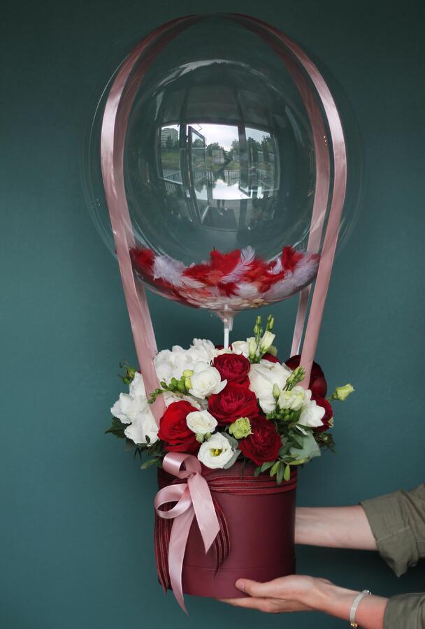 """Цветы в шляпной коробке """"Воздушный шар"""""""
